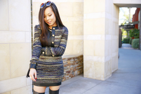 An Dyer wearing Guess MIZELL JACKET and Mini SKIRT