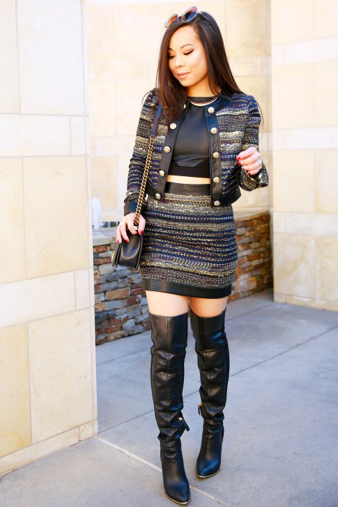 An Dyer wearing Guess Marciano Mizell Tweed Skirt Suit Set