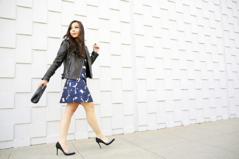 An Dyer wearing BCBGeneration Leather Moto Jacket with Lucy Paris Skirt Seperates