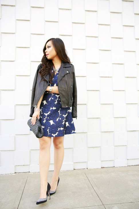 An Dyer wearing BCBGeneration Leather Moto Jacket with Lucy Paris Skirt Seperates, JustFab Tweed Pumps