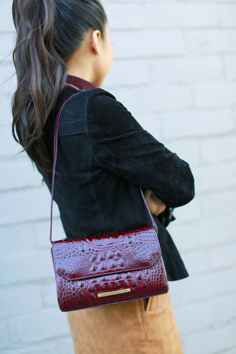 An Dyer wearing Brahmin Carina Shoulder Bag Carmine Red Melbourne