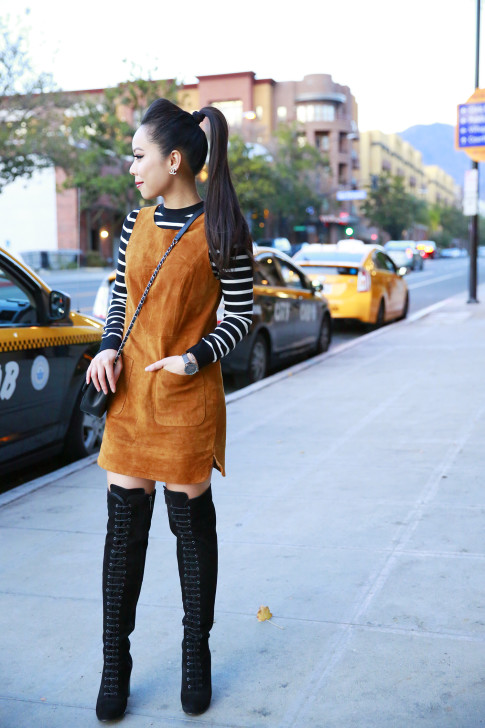 An Dyer wearing Forever 21 Suede Dress, Striped Sweater, Ted & Muffy Black Suede Lace Up OTK Boots
