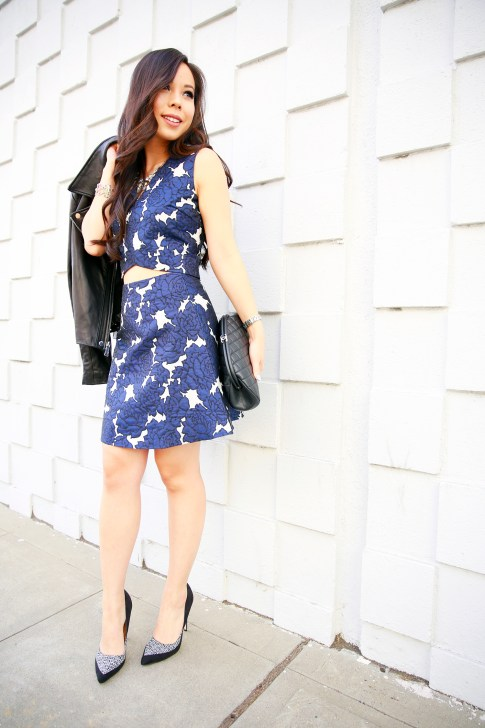 An Dyer wearing Lucy Paris Blue Floral Skirt Crop Set