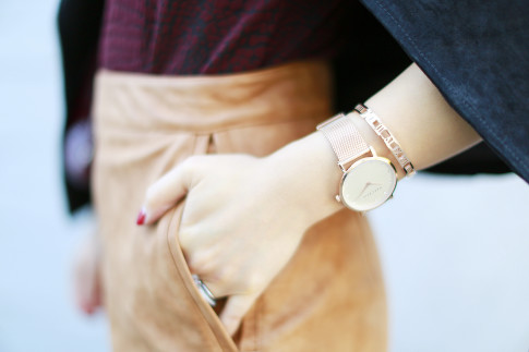 An Dyer wearing The Peach Box Marc Bale rose gold watch