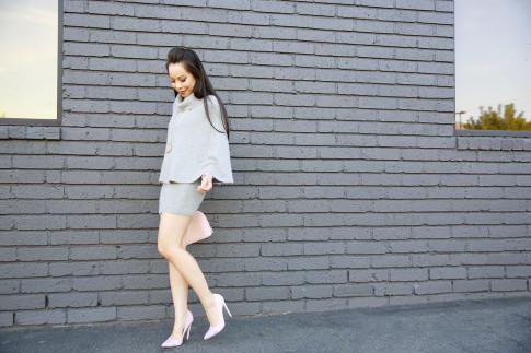 An Dyer weraing Chicwish Cape Poncho Skirt Dress Set, Capwell, ShoeDazzle, Louis Vuitton