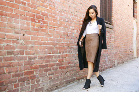 An Dyer wearing Ro&DeNoir SIENNA COAT & Level 99 Suede Skirt