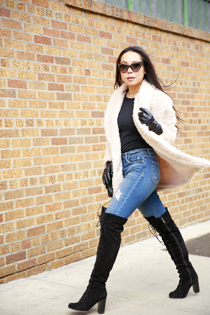 An Dyer at NYFW Street Style Joe's Jeans, Willow and Clay Coat and Ted & Muffy OTK Lace Up Boots