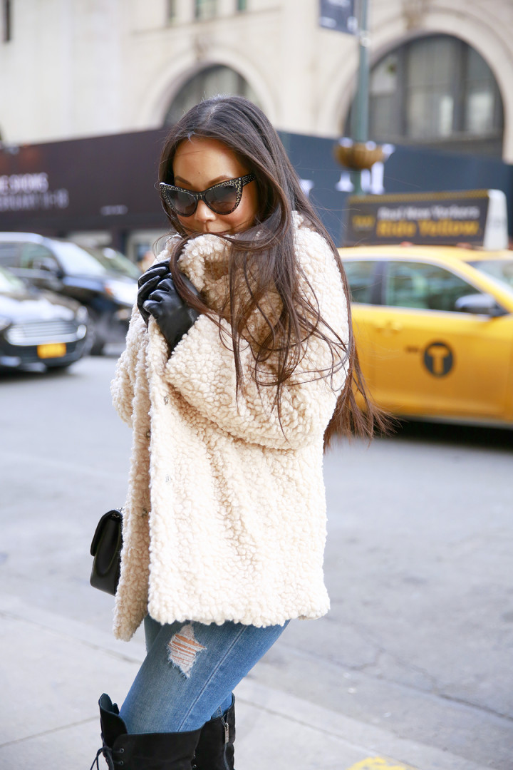 An Dyer keeping warm Willow and Clay at NYFW Street Style FW 2016 freezing