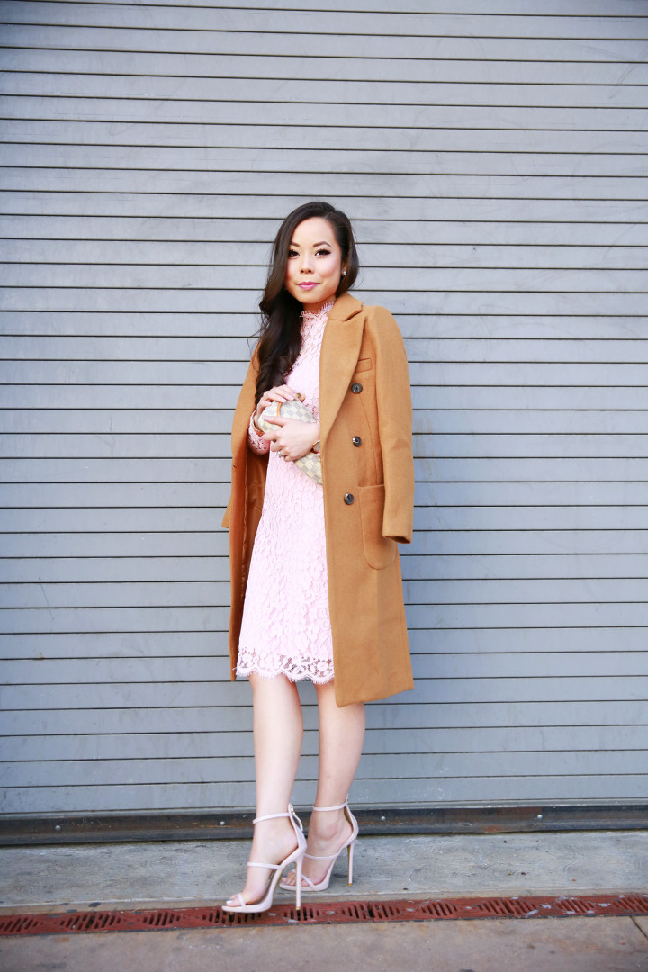 An Dyer wearing Chicwish Camel Coat and Pink Lace Midi Dress