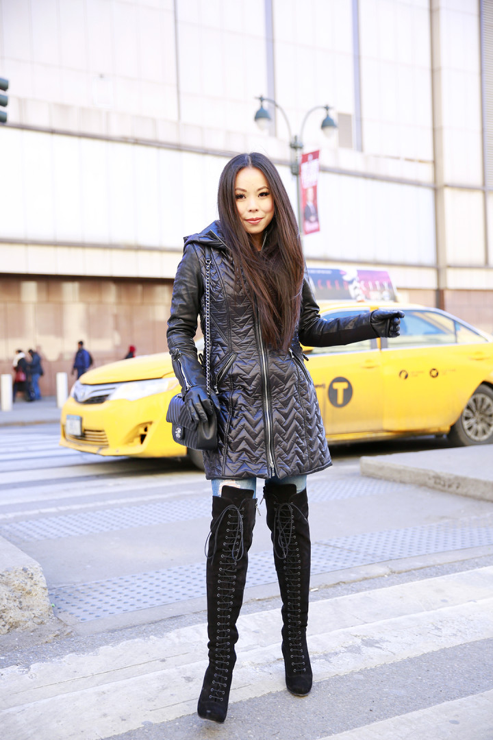 An Dyer wearing Dawn Levy Paige Coat with Ted Muffy Lace Up OTK Boots with Chanel Chevron