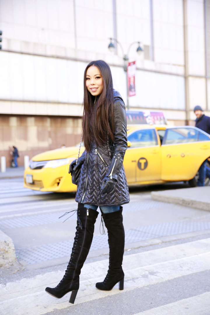 An Dyer wearing Dawn Levy Paige Coat with Ted Muffy Lace Up Over The Knee Boots