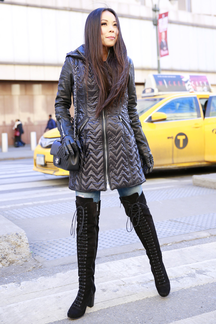 An Dyer wearing Dawn Levy Paige Coat with Ted Muffy Lace Up Over The Knee Boots with Chanel Chevron