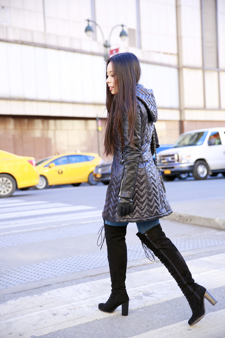 An Dyer wearing Dawn Levy Paige Coat with Ted Muffy Lace Up Over The Knee Suede Boots