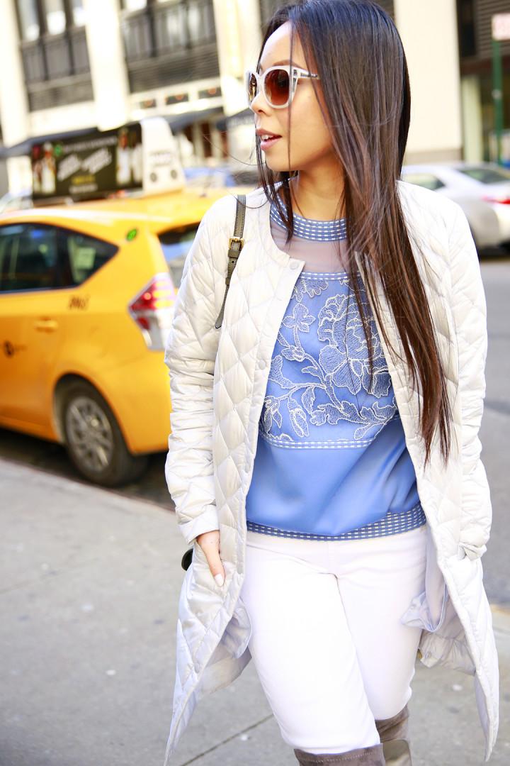 An Dyer wearing Tadashi Embroidered Sweatshirt