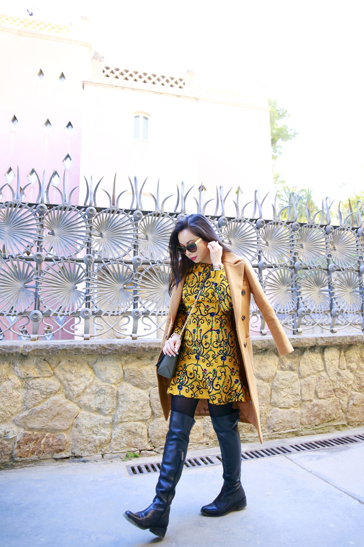 An Dyer wearing Chicwish & Ted and Muffy at Park Guell Barcelona Spain