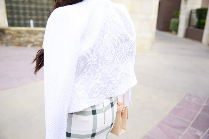 An Dyer wearing Ted Baker LUA Jacquard cropped jacket