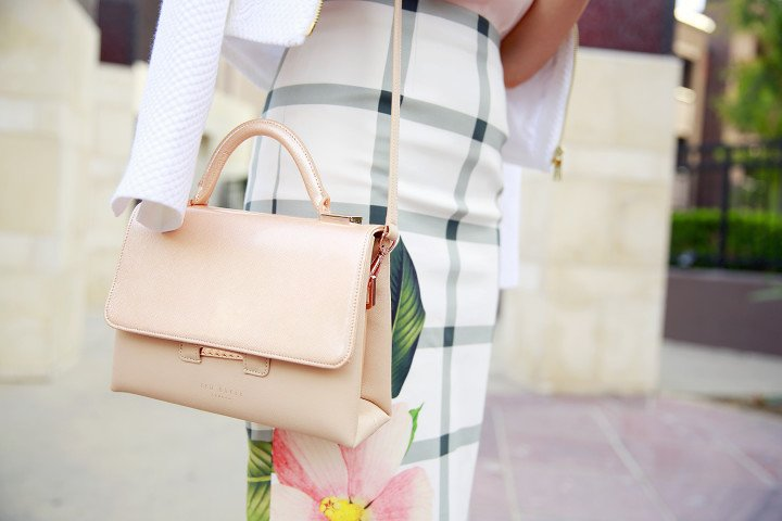 An Dyer wearing Ted Baker MAISIE Crosshatch leather small tote bag