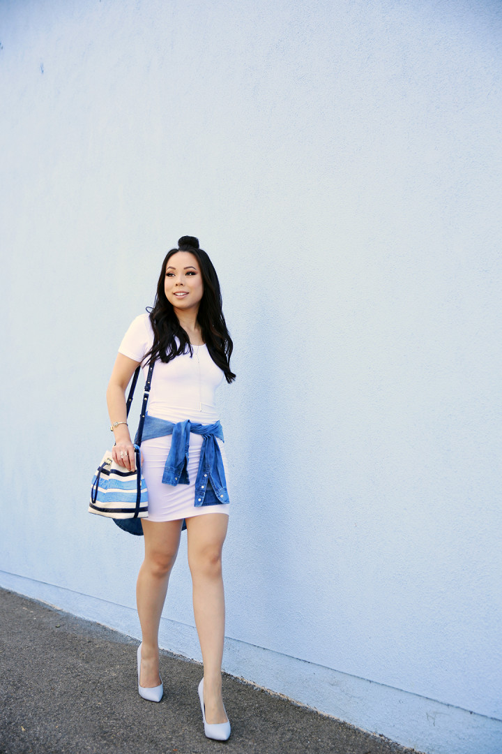 An Dyer wearing Brahmin & Nicole Andrews White Tee Dress
