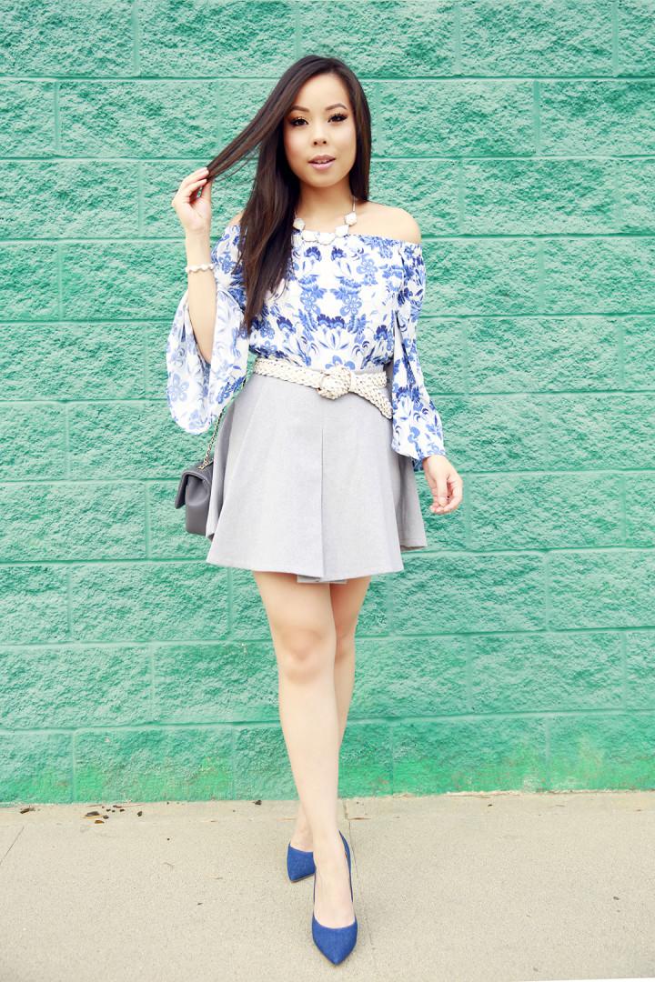 An Dyer wearing IvyRevel Blue Floral off The sHoulder, Chanel & JustFab