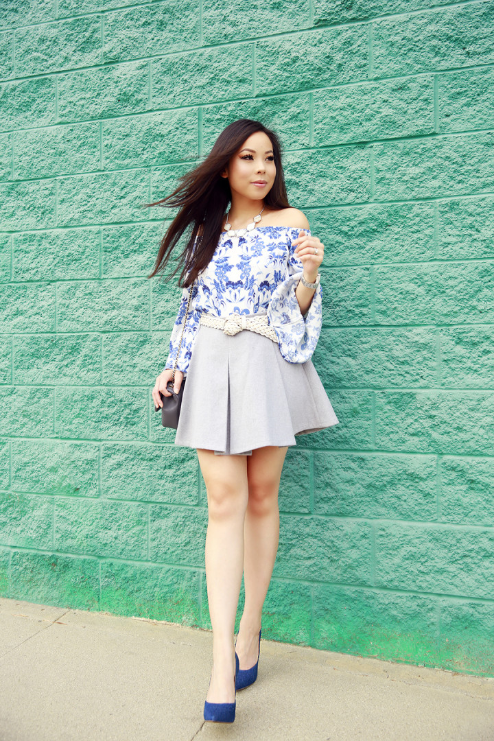An Dyer wearing IvyRevel Blue Floral off the shoulder top, Chanel & JustFab