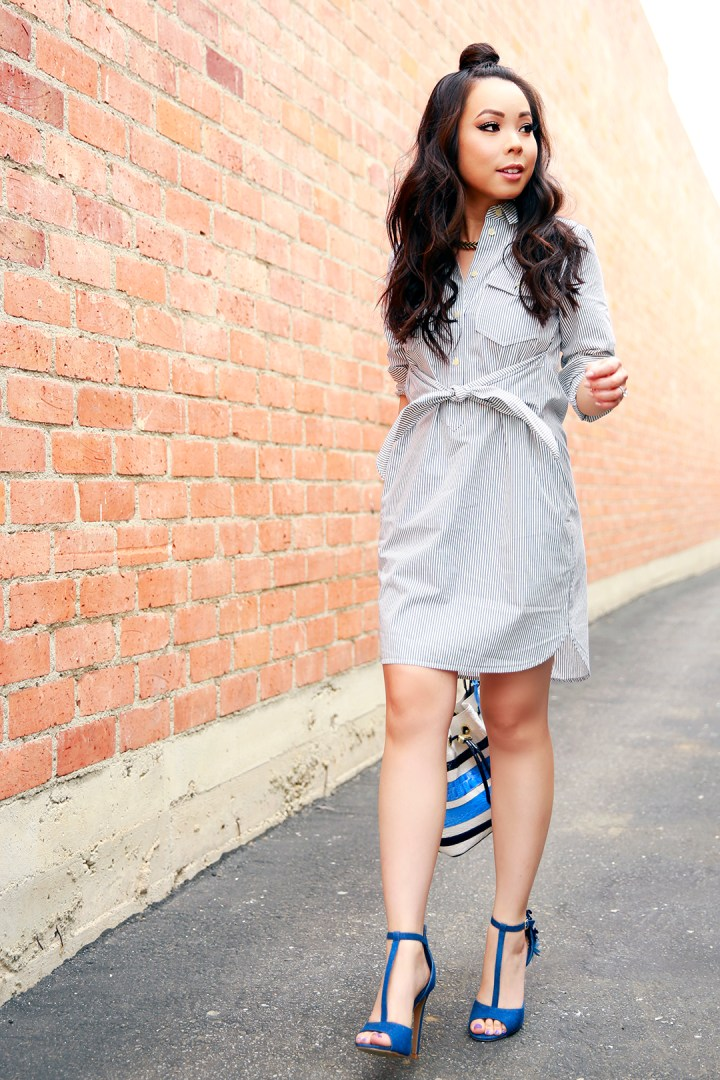 An Dyer wearing Samurai Bun with Madewell Shirtdress