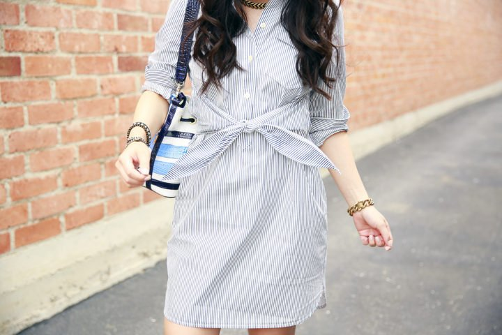 Madewell tie front waist shirt dress