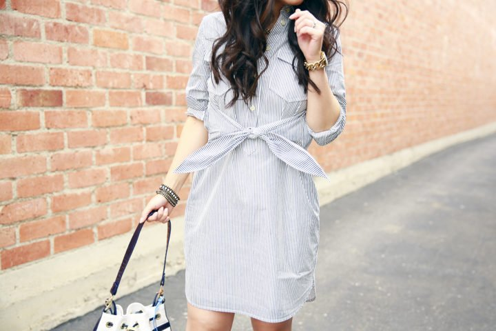 Madewell tie front waist shirt dress with Loren Hope Jewelry