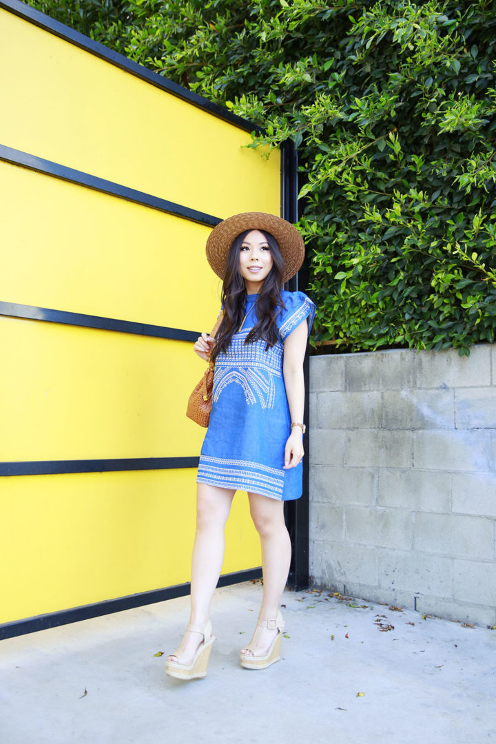 An Dyer wearing Brown Boater Hat, Chicwish Denim Dress Embroidered with ShoeDazzle Hanni Platforms