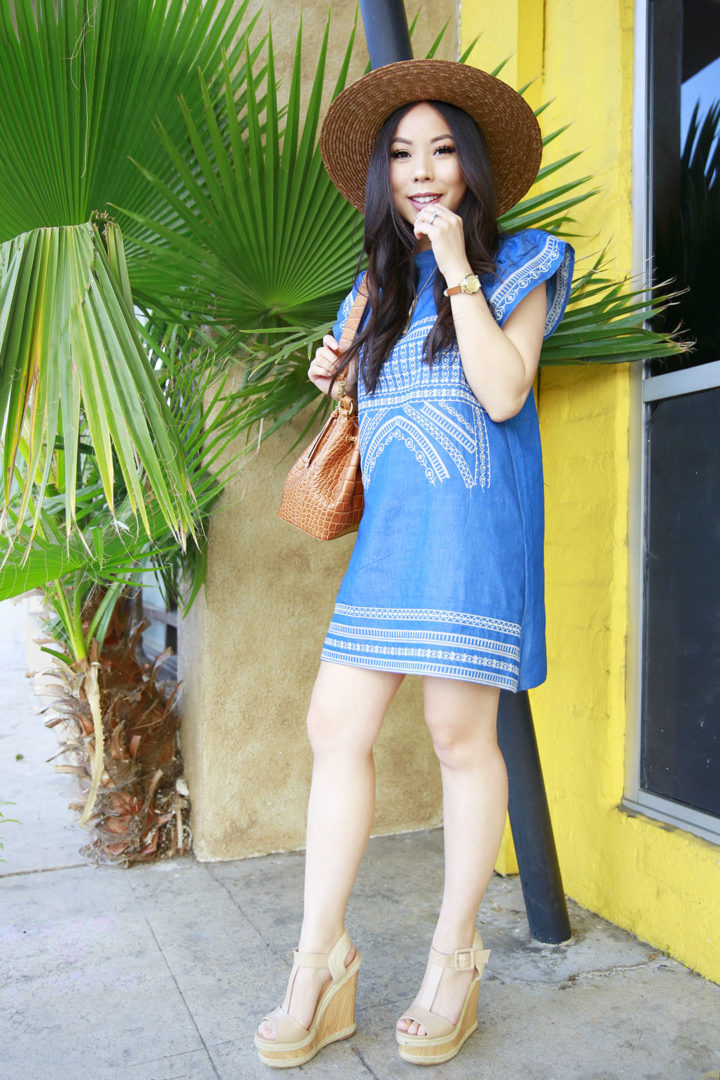 An Dyer wearing Brown Boater Hat with Chicwish Denim Dress Embroidered with ShoeDazzle Hanni Platforms