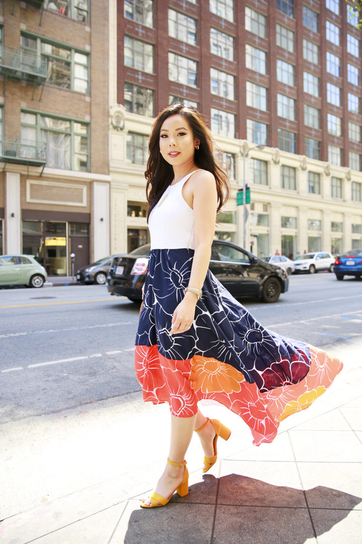 An Dyer wearing Hutch Peachy High Low Dress