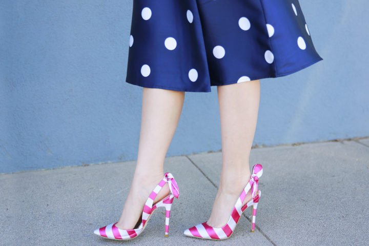 An Dyer wearing ShoeDazzle Pink Stripe Bow Slingback Pumps