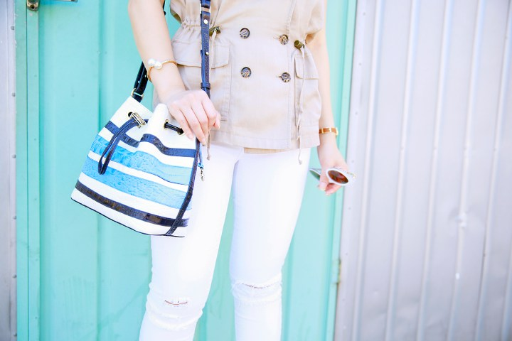 An Dyer wearing Brahmin Maxine Bucket Bag