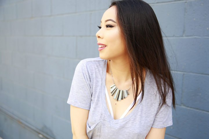 An Dyer wearing Charming Charlie Necklace