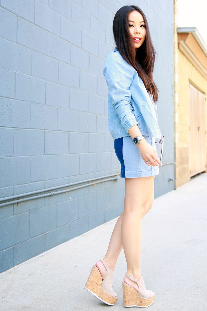 An Dyer wearing Fabletics Chambray Jacket, Guess Patchwork Denim Skirt with La Canadienne Platforms v2
