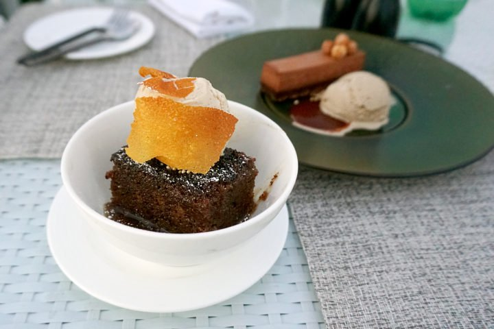 Boxwood On The Roof The London WeHo Beverly Hills ENGLISH STICKY TOFFEE PUDDING & CHOCOLATE HAZELNUT CRUNCH