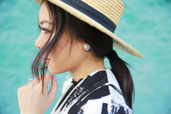 Charming Charlie Swirl Pavé Clip-On Earrings & Nordstrom Straw Boater Hat