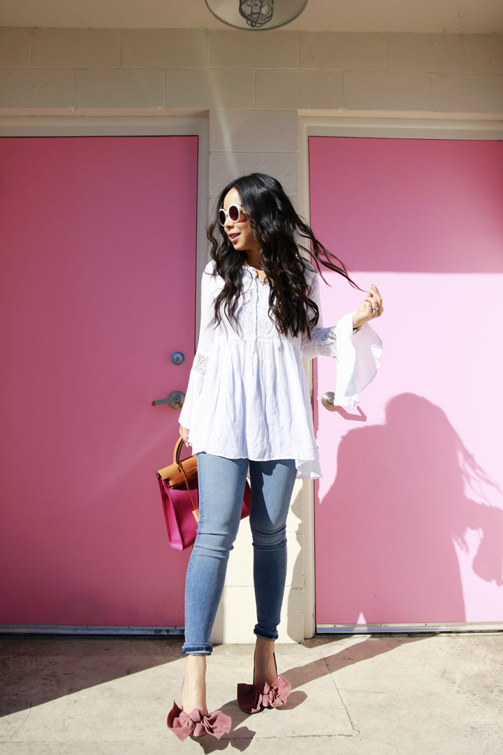 An Dyer wearing Hudson Jeans, Jeffrey Campbell Grandame Suede Bow Pump - Dusty Rose