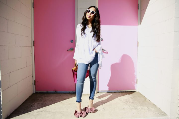 An Dyer wearing Hudson Jeans and Jeffrey Campbell Grandame