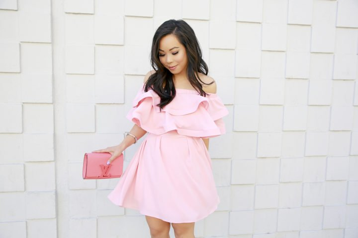 An Dyer wearing Pink Ruffle Off Shoulder Chicwish Dress with Louis Vuitton Louise Corail