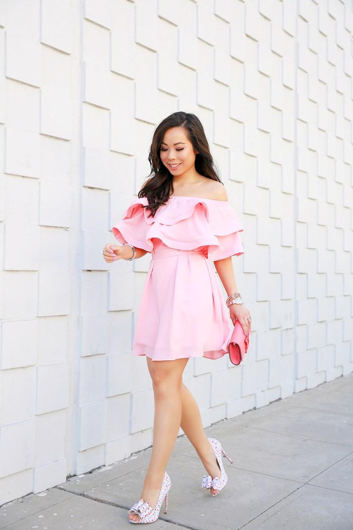 An Dyer wearing Pink Ruffle Off Shoulder Chicwish Dress