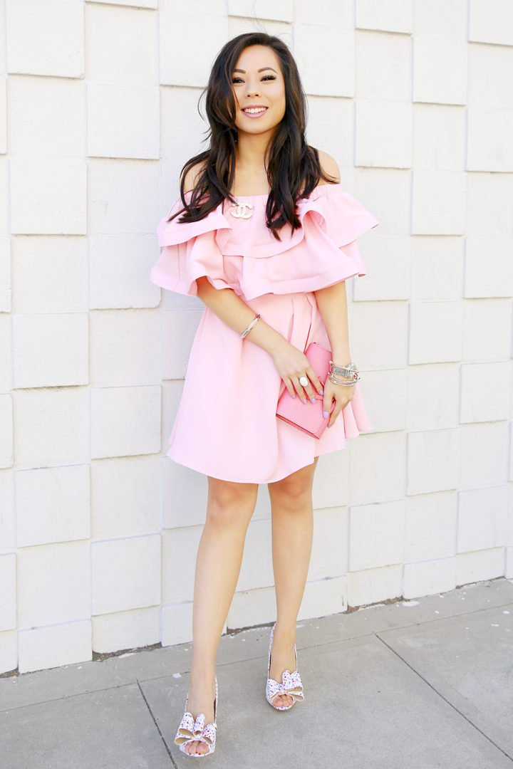 An Dyer wearing Pink Ruffly Off Shoulder Chicwish Dress with Chanel Brooch and Louis Vuitton Louise Corail