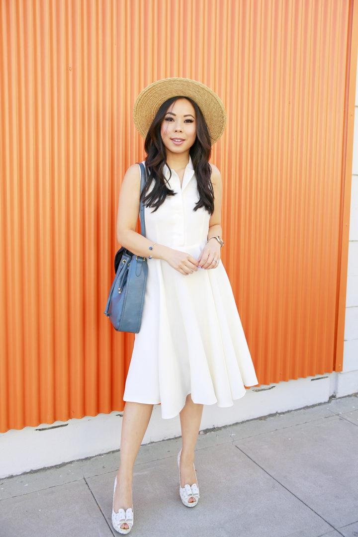 An Dyer wearing Sarah Seven Dress