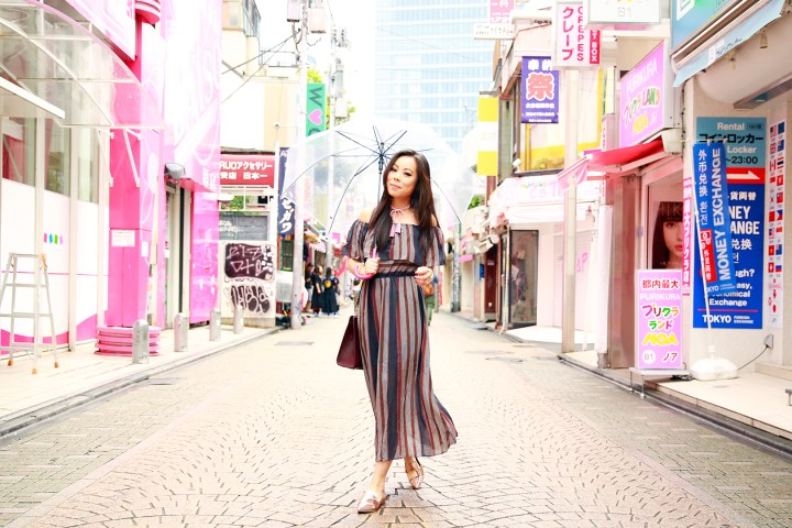 harajuku-metallic-pointed-flats-striped-maxi-off-shoulder-dress