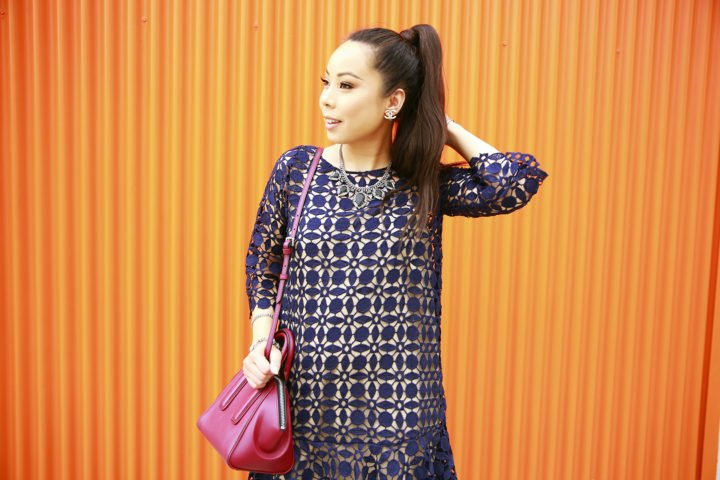 an-dyer-wearing-chicwish-navy-crochet-dress-with-rpzl-ponytail-hair-extension