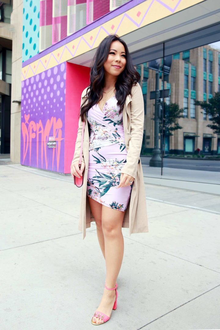 Fashion Blogger An Dyer wearing Guess Tropical Summer Date Dress with Eva Longoria Collection Trench Coat, Talbots Pineapple Sandals