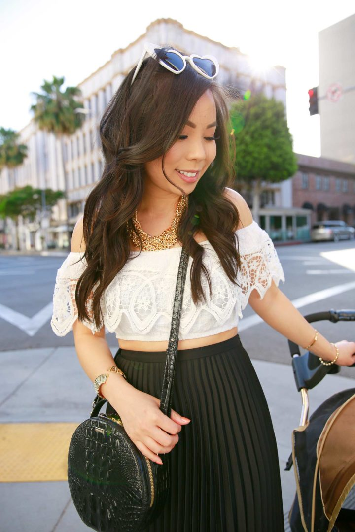 Fashion Blogger An Dyer wearing Heart Cateye Sunglasses Crop Top Brahmin Bag