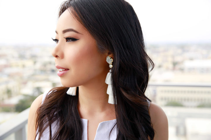 Fashion Blogger An Dyer wearing Kendra Scott Denise Tassel Statement Earrings