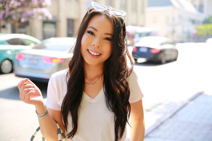 Fashion Blogger An Dyer in Downtown Los Angeles wearing Kendra Scott