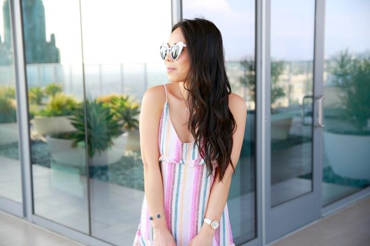 Los Angeles Fashion Lifestyle Blogger An Dyer wearing Rails Pink Rainbow Stripe Dress