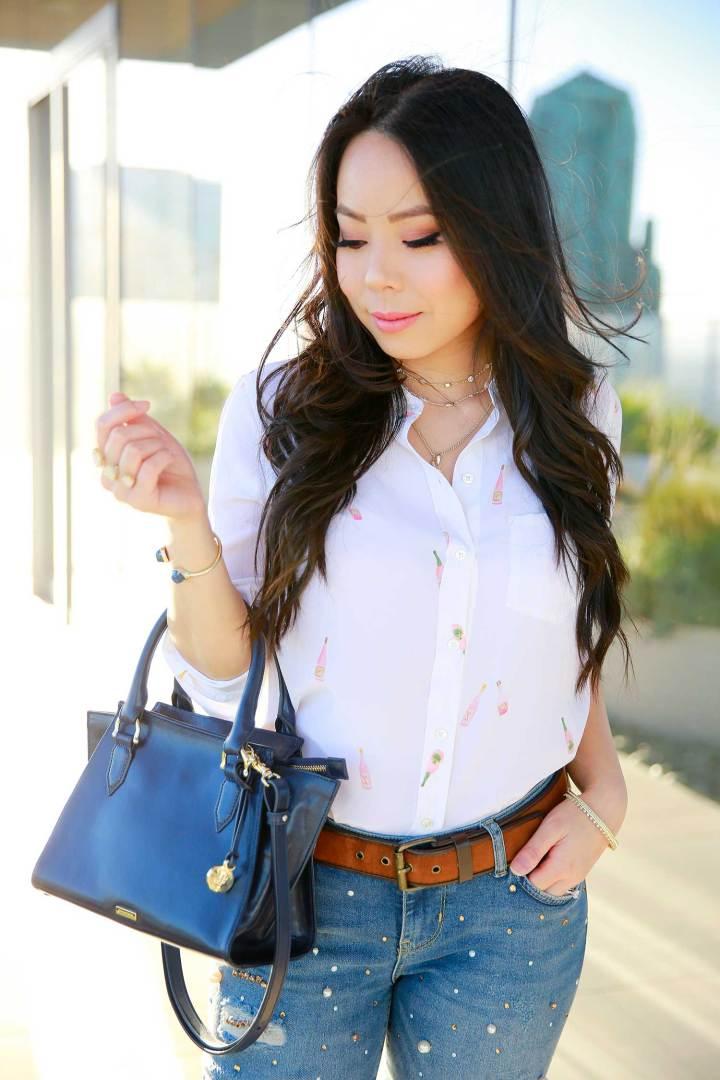 Los Angeles Fashion Lifestyle Blogger An Dyer wearing Rails LA Rosé Bottle Printed Shirt